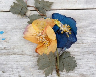 Antique French millinery silk flowers Victorian 1900s Edwardian hat old shop stock milliner yellow blue sewing hatmaker collectible