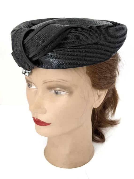 Vintage 1960s Navy Blue Ladies Straw Hat Summer H… - image 2