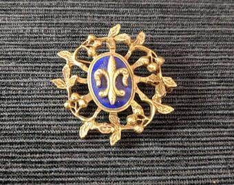 Vintage Brooch Pin Fleur de Lis Gold Tone Metal Blue Enamel Jewellery Collectible Jewelry Ladies photo prop