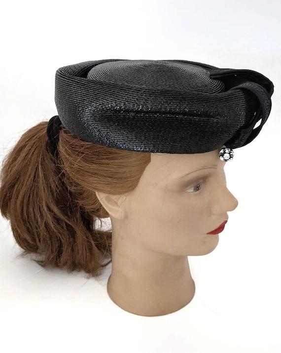Vintage 1960s Navy Blue Ladies Straw Hat Summer H… - image 9