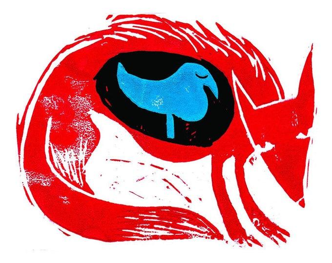 Fox and Bird A3 print