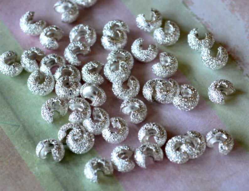 100pcs Crimp Cover Silver Brass Round 4mm Stardust Knot Covers Crimps