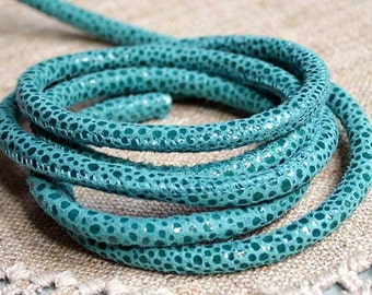 1 meter of 5mm Genuine Turquoise Pebble Printed Stitched Suede Round Leather Cord