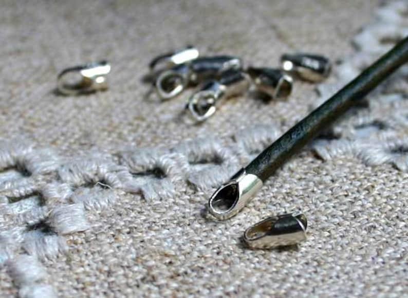 10pcs Cord End Tip Sterling Silver 9x5x4.5mm 4mm Inside Diameter Crimp Glue In Ends