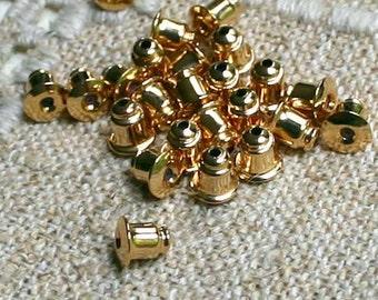 100pcs Earwire Nuts Stopper Earnuts Barrel Gold Plated Small 6mm