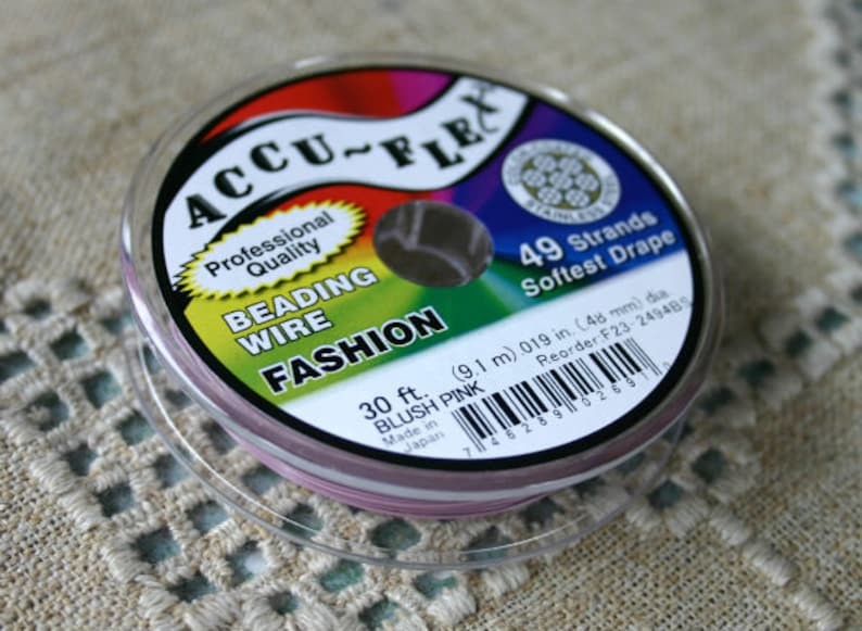 Accu-Flex Beading Wire 49 Strand .014 30 ft  Blush Pink 0.014 inches