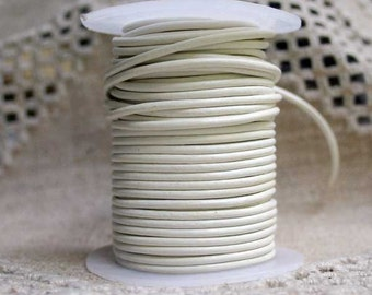 1mm Round  Leather Cord White  : 2 yards 1.82 m