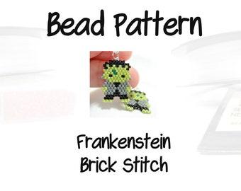 Brick Stitch Green Frankenstein Bead Pattern, Halloween Charm | DIGITAL DOWNLOAD