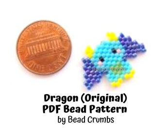 Brick Stitch Bead Pattern Dragon, Beaded Colorful Fantasy Animal Charm Pendant Earring Jewelry, PDF Digital Pattern