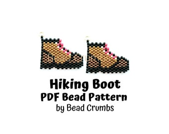 Brick Stitch Charm Pattern Hiking Boots, Miyuki Delica Beads, PDF Digital Download