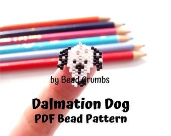 Dalmatian Dog Brick Stitch Seed Bead Animal PATTERN, PDF Digital Download