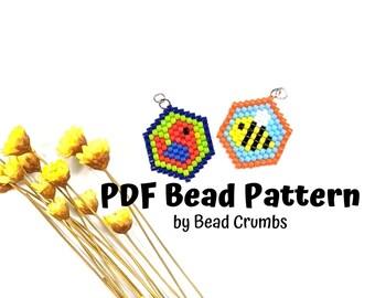 Bird and Bee Bead Pattern, Brick Stitch Charm Pendant Craft, PDF Digital Download - P2162984