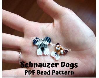 Schnauzer Dogs Brick/Peyote Stitch Animals Bead PATTERN, DIY Craft Seed Bead Charm, PDF Digital Download