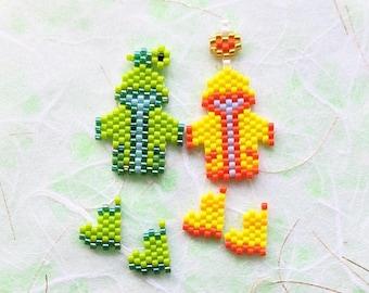 Raincoat & Rain Boots Brick Stitch Bead Pattern, Miyuki Charm, PDF Digital Download - #P2157719