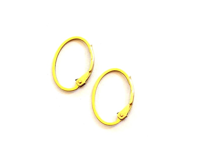 Featured listing image: Oval Earring Hoops, Gold Filled Leverback Interchangeable Earrings (1 Pair)