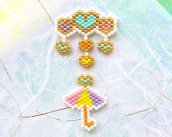Umbrella Heart Cloud Bead Pattern, Miyuki Brick Stitch Charm, PDF Digital Download -  P2157501