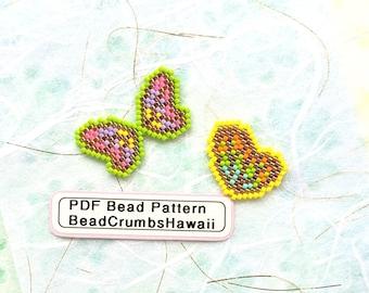 Neon Butterfly Wings Bead Pattern, Miyuki Brick Stitch Charm, PDF Digital Download - P2157230