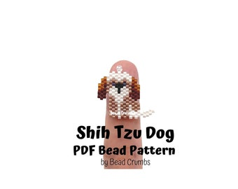 Shih Tzu Dog Brick Stitch Bead Pattern, PDF Digital Download