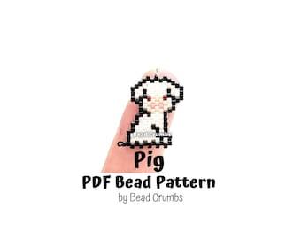 Beading Pattern Pig, Brick Stitch Miyuki Beads, DIY Cute Animal Charms| PDF Digital Download P2148424