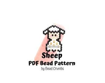 Beading Pattern Sheep, Brick Stitch Miyuki Beads, DIY Cute Animal Charm | PDF Digital Download P2148424