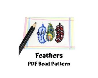 Brick Stitch Bead Pattern, Feathers Miyuki Charms, PDF Digital Download - P2151434