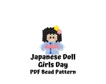 Brick Stitch Japanese Doll Girls Day Bead Pattern, Hinamatsuri Miyuki Charms, PDF Digital Download - P2153672