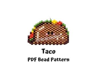 Taco Bead Pattern, Brick / Peyote Stitch Miyuki Charms, Food Bead Weaving, PDF Digital Download - P2151775