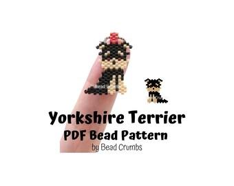 Bead Pattern Yorkshire Terrier, Brick Stitch Miyuki Beading, DIY Cute Animal Charm | PDF Digital Download P2148944