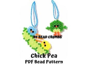 Chick Pea Birds Bead Pattern, Brick Stitch Miyuki Charms, PDF Digital Download