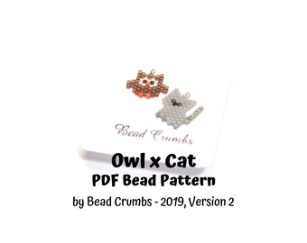 Owl x Cat Bead Pattern (version 2), Brick Stitch Miyuki Charms, PDF Digital Download - P2155513