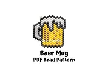 Beer Mug Pattern, Brick / Peyote Stitch Miyuki Charms, Drink Bead Weaving, PDF Digital Download - P2151775