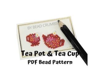 Brick Stitch Teapot and Teacup Bead Pattern, Strawberry Miyuki Charms, PDF Digital Download - P2151179