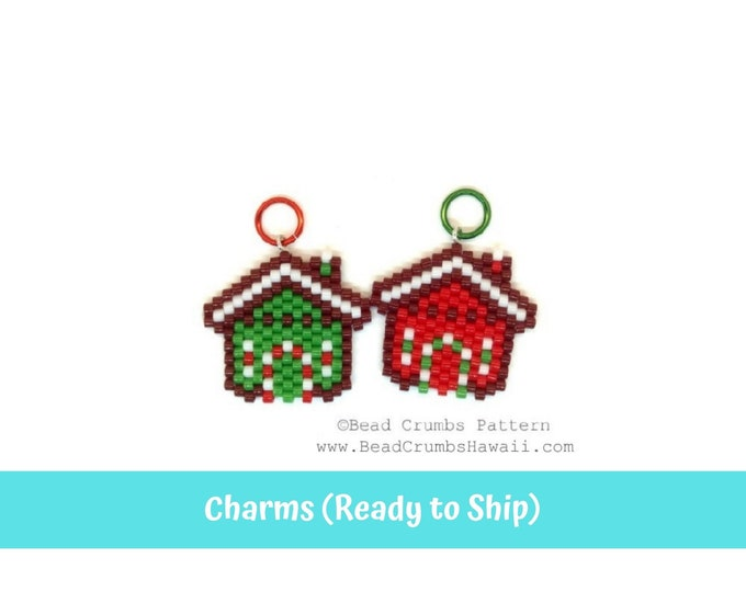 Beaded Gingerbread House Earring Charms, 1 Pc Red or Green, Miyuki Brick Stitch Beading