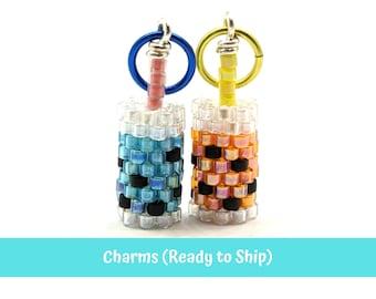 Seed Bead Boba Drink, Bubble Milk Tea Tapioca Pearls Earring Charm Accessory, 1 PC, Miyuki Brick Stitch Beading
