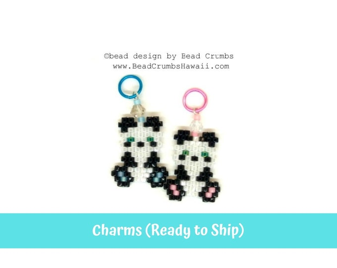 Beaded Panda Earring Charms 1 Pc, Miyuki Brick Stitch Beading