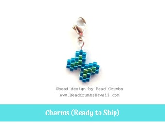 Petite Beaded Butterfly Charm Pendant, Sterling Silver Lobster Claw Clasp