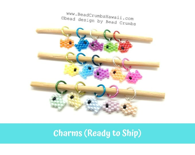 5pc Assorted Colors Mini Fish Earring Charms, Miyuki Brick Stitch Beading