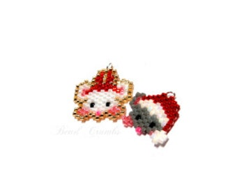 Mini Christmas Mice Bead Patterns, Delica Seed Beads