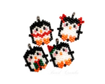 Brick Stitch Christmas Penguin Set Bead PATTERNS | Printable Digital Download
