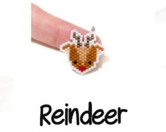 Red Nose Reindeer - Christmas Brick Stitch Beading Pattern | Printable Digital Download