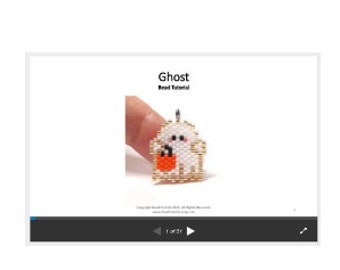 Halloween Ghost Bead Pattern, Brick Stitch Beading TUTORIAL/INSTRUCTIONS | Digital Download