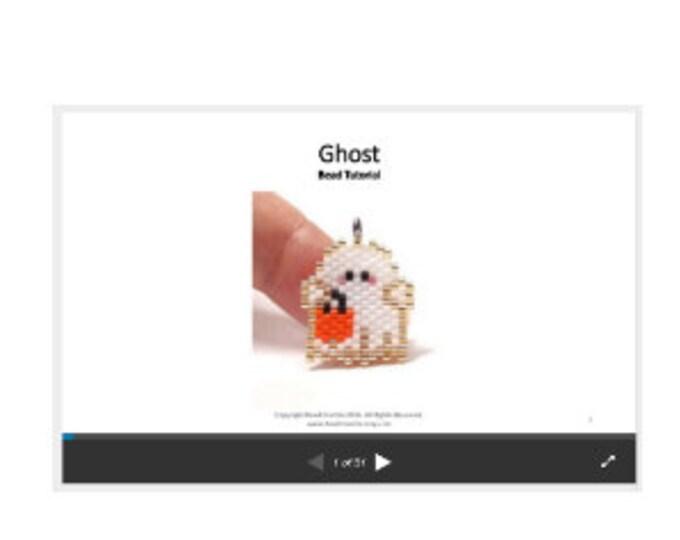 Halloween Ghost Bead Pattern, Brick Stitch Beading TUTORIAL/INSTRUCTIONS | Digital Download