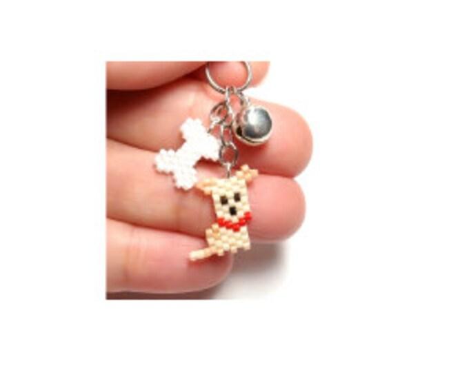 Mini Dog and Bone Brick Stitch Bead PATTERN | DIGITAL DOWNLOAD