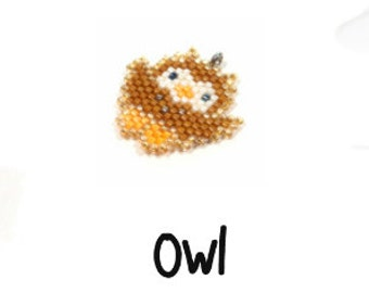Cute Beaded Owl PATTERN, Peyote or Brick Stitch Seed Bead Weaving
