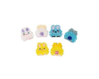 Kawaii Yellow Bunny Charms, Brick Stitch Rabbit Bead PATTERNS