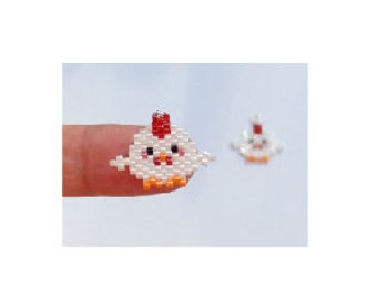 Year of the Rooster Bead Pattern, Chinese Zodiac, Brick Stitch Bead Weaving