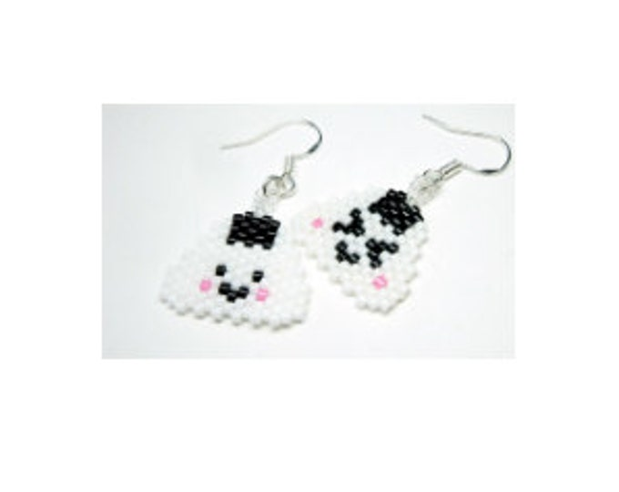 Mini Japanese Rice Ball PATTERN, Happy & Grumpy Onigiri, Kawaii Musubi Earring Design, Delica Seed Beads 11/0