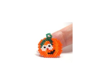 Halloween Jack O Lantern / Pumpkin Brick Stitch Bead PATTERN | DIGITAL DOWNLOAD