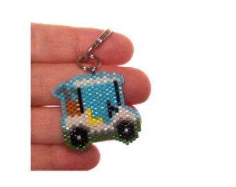Golf Cart Beading PATTERN, Seed Bead Digital Pattern, Brick/Peyote Stitch Graph