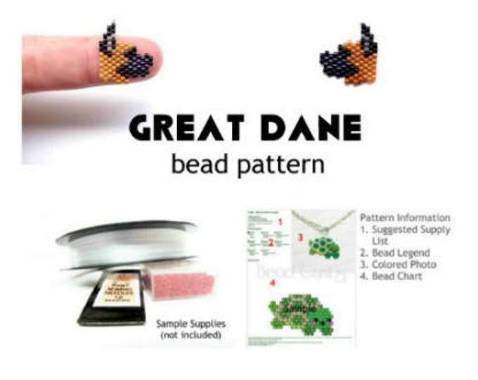 Great Dane Dog with Cropped Ears, Delica Bead Weaving Pattern